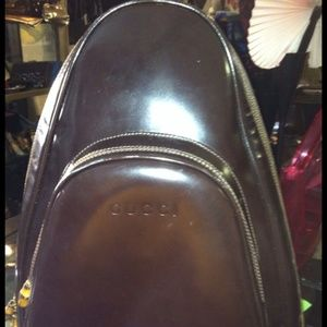 Gucci brown Leather one handle backpack